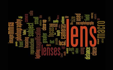 extention:  camera lens text clounds on black background Stock Photo