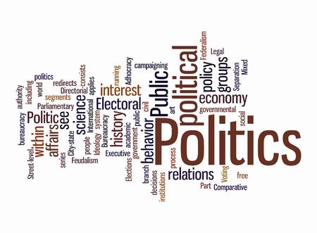 democracia: Politic nubes de palabras en el fondo aislado