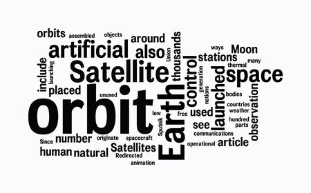 launching: satellite text clouds on isolated background