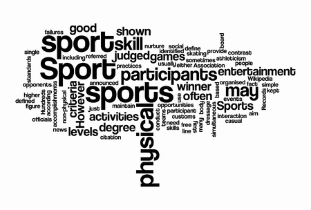 failures: sport text cloud on isolated bacground
