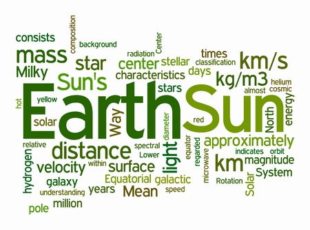 diameter: earth and sun text clouds on white background Stock Photo