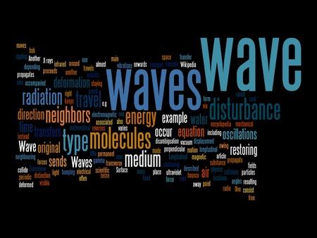 disturbance: wave text clounds on black background Stock Photo