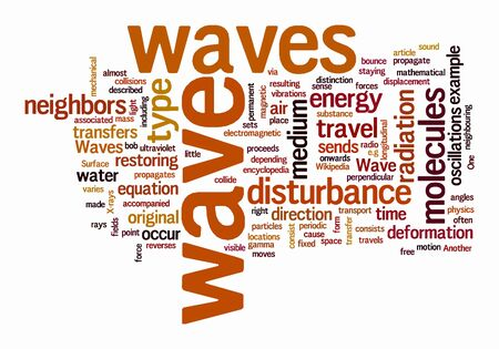 sense of space: wave text clouds on isolated background Stock Photo