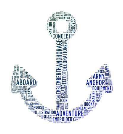 anchor text clouds on isolated background Stock Photo