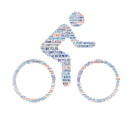 cycling text symbol concept on isolated background photo