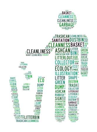 reciclable: reciclaje de basura nubes de texto sobre un fondo aislado