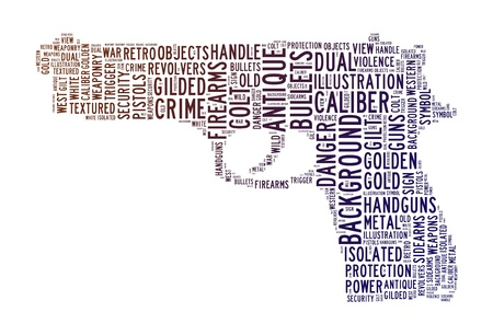 magnum: pistol  text clouds concept isolated background Stock Photo
