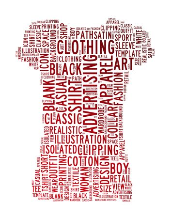 t-shirt woman text clouds concept background photo