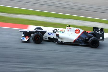 sergio: SEPANG - MARCH 23: Sergio Perez of Sauber F1 team racing during Formula One Teams Test Days at Sepang circuit on March 23, 2012 in Sepang, Malaysia.