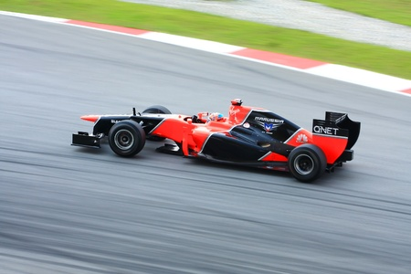 f1: SEPANG - MARCH 23: Timo Glock of Marussia F1 team races during Formula One Teams Test Days at Sepang circuit on March 23, 2012 in Sepang, Malaysia.