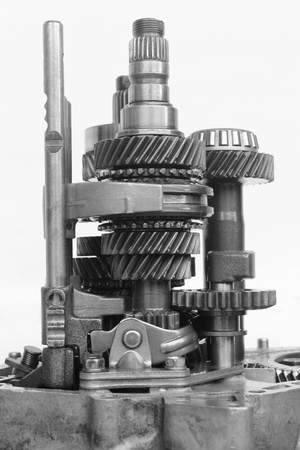 gearbox: inner automotive gearbox on isolated background