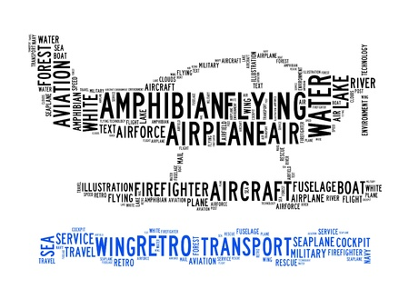 amphibian plane text clouds on isolated background Stock Photo