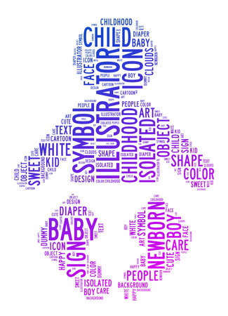 illustrators: baby text clouds on isolated background Stock Photo