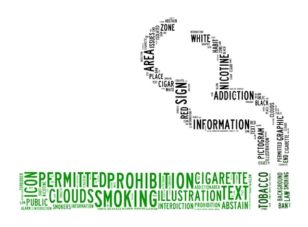 smoking area text clouds on isolated background photo