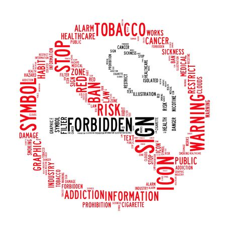smoking ban: no smoking text clouds on isolated background