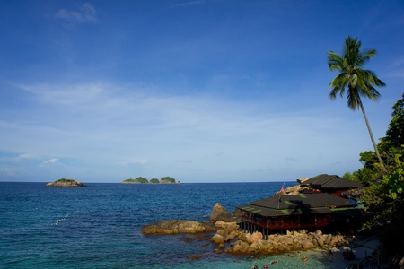 redang: seascape at redang island with blue sky