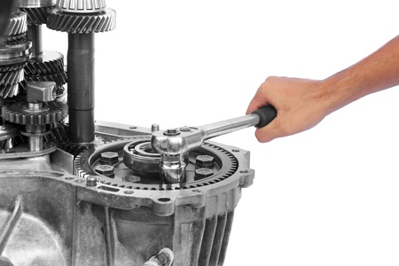 gearbox repairing on isolated background