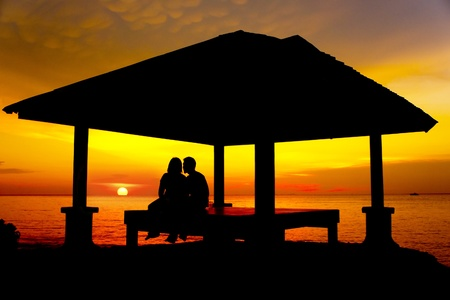couple silhouette with great sunset Stock Photo - 14052626