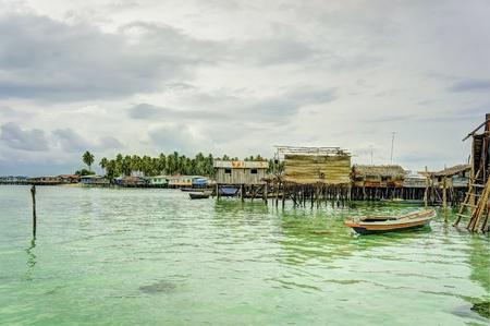 bajau laut village seascape view hdr Stock Photo