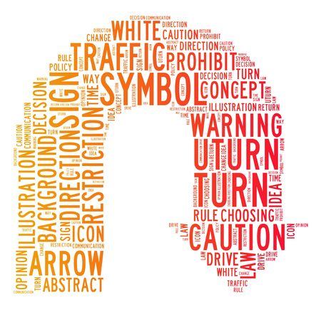 turn sign: uturn symbol text clouds on isolated background