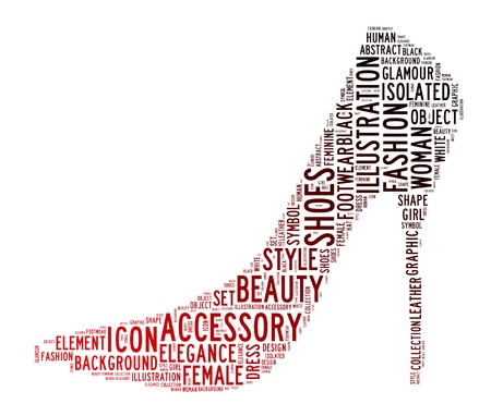woman shoes text clouds on isolated background Stock Photo - 14711299