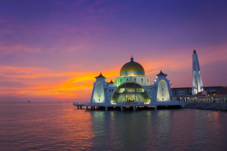islamic scenery: selat mosque at sunset view