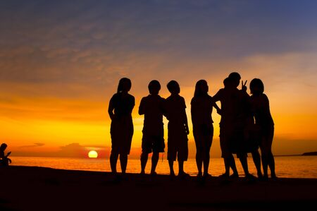 silhouette people on dramatic sunset Stock Photo - 15780410
