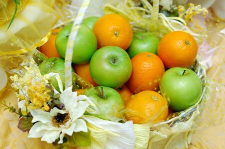 Fruits in basket for Wedding decoration photo