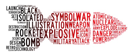 threat of violence: bomb icon text clouds background Stock Photo