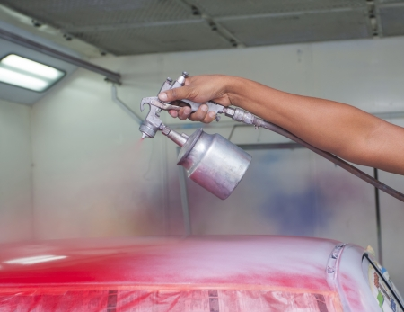 bodywork: car painting with red colour