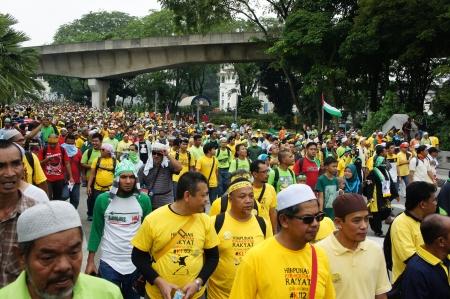 KUALA LUMPUR, MALAYSIA - January 12: Crowd of Malaysian peoples at the raise of people organized by NGO and fair election on january 12, 2013 in Train Station Building, Kuala Lumpur, Malaysia.