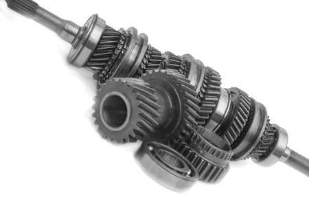 gear box part on black and white view creative angle