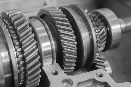 crankshaft: mechanical gear in black and white Stock Photo