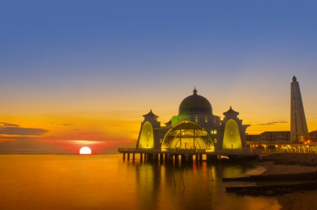 islamic scenery: the great of sunset at selat mosque