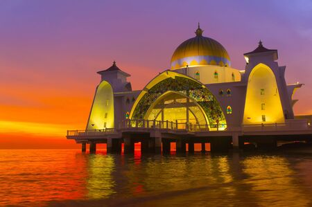 islamic scenery: floating mosque via great sunset