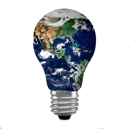 kilowatt: earth bulb concept on isolated background