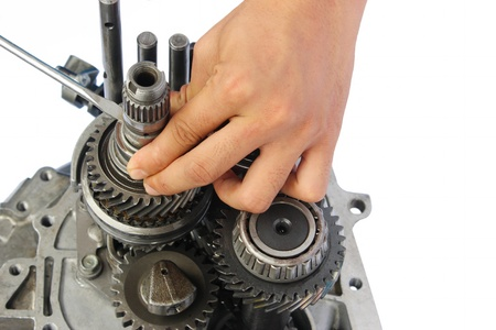 gearbox service on isolated white background