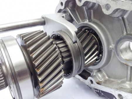 gearbox: inner part of used gerabox  Stock Photo