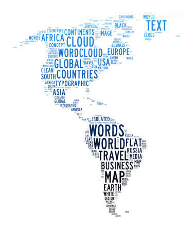 america map text cloud on isolated background photo