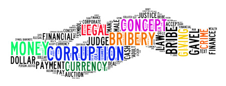 the corruption: corruption text cloud on isolated background