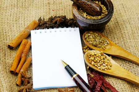 asian traditional spicy with white blank paper Stock Photo - 24091320