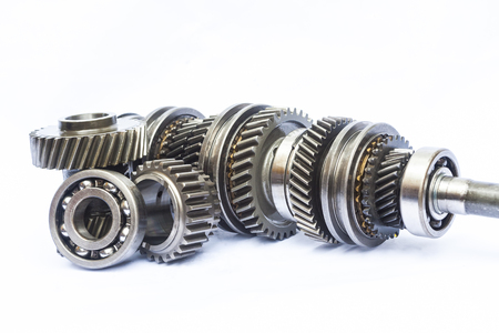 part of gear box on isolated background Stock Photo