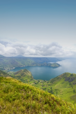 toba lake, indonesia from highland view Stock Photo