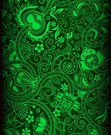 batik pattern: green color batik pattern background Stock Photo