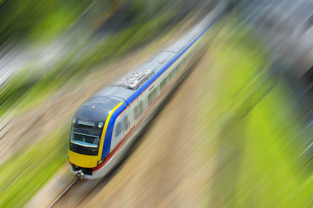 high speed train with motion blur background Stock Photo