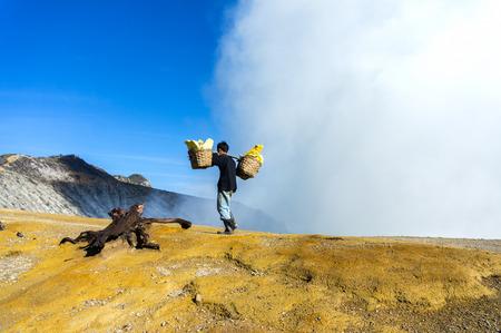 sulphur worker at kawah ijen