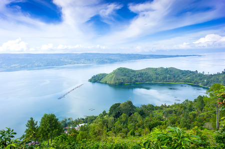 danau toba lake scenery from highland Stock Photo