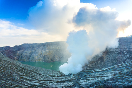 active volcano: kawah ijen carter is active volcano in indonesia