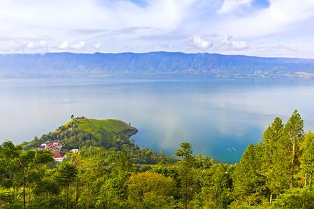 sumatra: danau toba scenery from top view