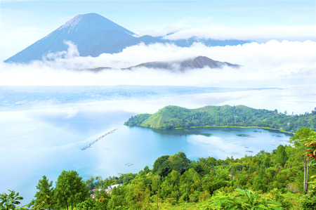 danau toba lake scenery and unactive volcano Stock Photo
